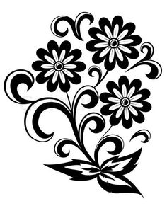 Free clip art black and white flowers flower flourishes clipart vector of black and white abstract flower with leaves and swirls isolated on white background mightylinksfo