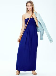 Summer essentials | Twik Tube Sundress & Knitted Denim Jacket | Simons #cute #style