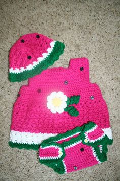 Watermelon  crochet dress diaper cover and by OffTheHookbyAngie, $28.00