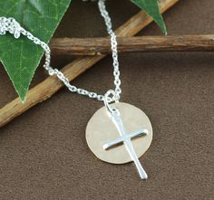 Baptism Gift for Girl, First Communion Gift, First Holy Communion Gift, Initial Cross Pendant, Crystal Cross Necklace, Confirmation Gift by AnnieRehJewelry on Etsy
