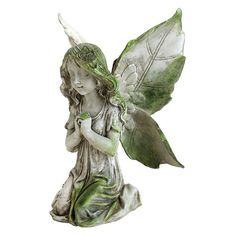 Bring the beauty and magic of the fairies to your garden with the Exhart Praying Fairy Garden Statue . This lovely fairy is crafted from lacquer-coated. Stone Garden Statues, Fairy Statues, Gnome Garden, Lawn And Garden, Backyard Makeover, Enchanted Garden, Green Accents, Garden Sculpture, Pray