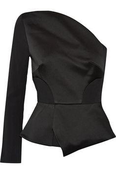 Roland Mouret | One-shoulder satin and crepe top | NET-A-PORTER.COM
