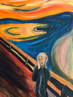 "My interpretation of ""the scream"" by Edvard Munch Edvard Munch, Scream, Artwork, Painting, Work Of Art, Painting Art, Paintings, Paint, Draw"