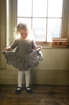 Maddie Child's Dress ~ your toddler would look like a princess in this outfit - so cute! ~ great detail ~ advanced ~ KNITTED pattern