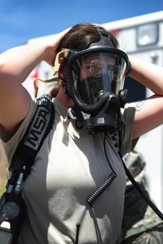 Exercise: A suspicious package Gas Mask Girl, Respirator Mask, Full Face Mask, Gas Masks, Emergency Management, Masks Art, Exercise, Drake, Womens Fashion