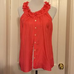 Medium J. Crew blouse Coral sleeveless J.Crew medium blouse 100% silk. Button front and ruffle neck J. Crew Tops Tank Tops