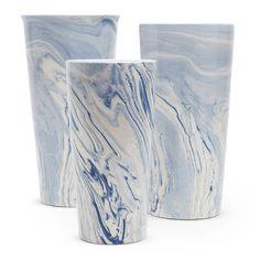 Blue Marbleized Taper Vase