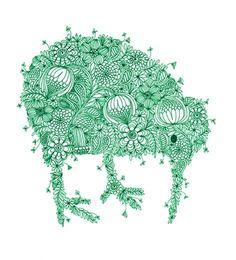 Deatiled Green Kiwiana Kiwi Fine Art Print by cloudninecreative. $23.00, via Etsy.