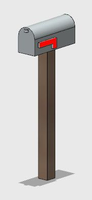 HO Scale Mailbox - Wood-like Post (Arrives unpainted)