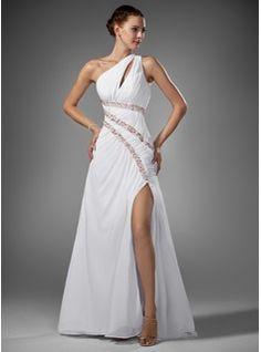 Vestidos princesa/ Formato A Um ombro Trem da varredura De chiffon Vestido de baile com Pregueado Perolização (018005081) - JJsHouse