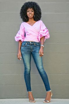 Ruched Sleeve Wrap Blouse + Ankle Length Jeans