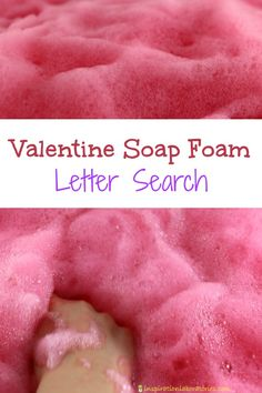 This valentine soap foam is a wonderful bubbly sensory experience. We added letters to the foam and created a letter search to work on reading word families. You can also use it to practice letter recognition, letter sounds, sight words, or spelling.