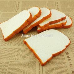 20PCS Jumbo Squishy Sliced Toast Phone Straps Toy Soft Bread Scented Funing Hand Pillow Gift Home Kitchen Decoration Wholesale