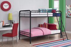 Twin Over Twin Bunk Beds Ladder Kids Boys Girls Teen Bedroom Home Furniture