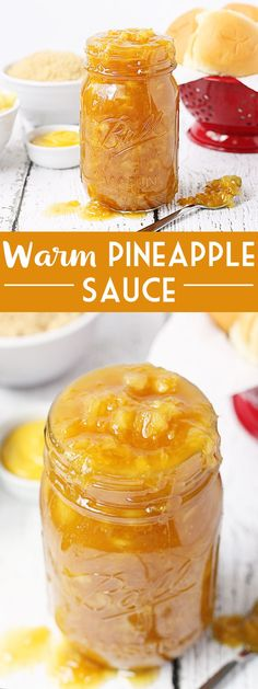 WARM PINEAPPLE SAUCE -- This warm pineapple sauce with its combination of crushed pineapple, brown sugar, and hint of mustard is like candy! No ham dinner is complete without a bowl of this syrupy goodness on your holiday table! | halfscratched #recipe #easter