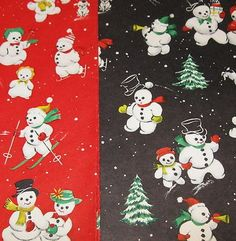 vintage Christmas Gift Wrap wrapping paper 2 packs Hallmark Snowman Snow Frolic (01/10/2013)
