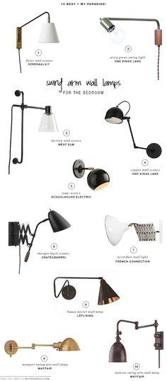 10 BEST: Swing arm wall lamps for the bedroom | My Paradissi belle selection de lampes pour tete de lit...tres actuelle: