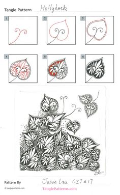 This tangle is from Linda Farmer CZT's page tanglepatterns.com - http://tanglepatterns.com/2016/05/how-to-draw-hollyhock.html