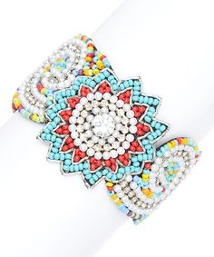 Love this ZAD Turquoise & Red Medallion Beaded Bracelet by ZAD on #zulily! #zulilyfinds