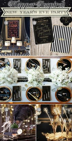 Flapper New Year's Party Ideas! Includes table decorations, a dessert table with cake and cookies, ostrich centerpieces, and festive drinks. #newyearsparty #gatsbythemeparties #flapperthemeparty