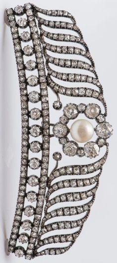 A Napoleon III gold, silver, daimond and pearl tiara / brooch, 1808-1873. #antique #Napoleonic #tiara