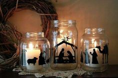 Nativity mason jars with candles. Would also be cool with white vinyl and fill the jars with cranberries, coffee beans or cinnamon Christmas Vinyl, Christmas Nativity, Noel Christmas, All Things Christmas, Winter Christmas, Christmas Ornaments, Nativity Scenes, Nativity Crafts, Christmas Candles