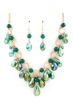 Briella Necklace in Teal Crystal