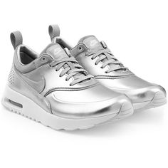 Nike Air Max Thea Premium Leather Sneakers ($115) ❤ liked on Polyvore featuring shoes, sneakers, silver, nike, real leather shoes, nike footwear, metallic silver sneakers e nike shoes