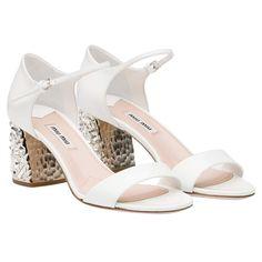 c6b4f2c40779 Sandal with 65 mm milled heel White Miu Miu Sandals