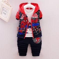 Boys Clothes Set Children Clothes Winter Coat+T-shirt+Leggings 3pcs Spider-Man prints Boys Sport Suit Four colors are available #Affiliate