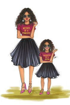 Mom And Daughter - Queen And Princess Canvas . Black Love Art, Black Girl Art, Black Girl Magic, Art Girl, Mother And Daughter Drawing, Princess Canvas, Mode Poster, Illustration Photo, Illustrations
