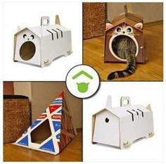 I might try my hand at a couple of these!    DIY Cardboard Cat Houses, 3 Creative Pet Design Ideas from Kotej