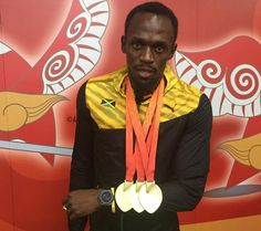 Usain Bolt Voted Male Athlete of the Year Usain Bolt Gold Medal, Visit Jamaica, Athletic Men, Lionel Messi, Tennis Players, Athlete, Beijing, Black, Black People