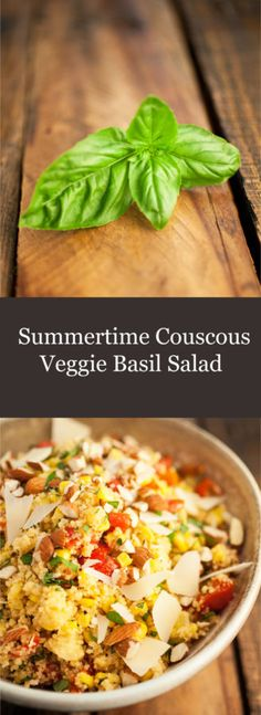 Summertime Couscous Veggie Basil Salad - A light and easy salad full of flavorful veggies, tasty parmesan, and topped with fresh basil. A perfect side dish for summer cookouts. #healthy #vegetarian