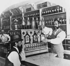 Worker Pouring Soda for Customer, ca 1890.
