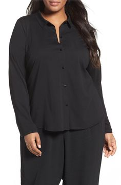 Main Image - Eileen Fisher Organic Cotton Jersey Classic Collar Shirt (Plus Size)