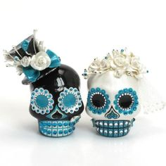 Teal Blue Skull Wedding Cake Topper A00169 Day of the Dead theme Skull Lover Wedding Cake toppers Ceramic Handmade + Skull Cake Topper A - gOOdiemud - http://www.amazon.com/dp/B0090WDQPU/ref=cm_sw_r_pi_dp_iR6Wwb0B8QAPE