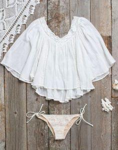 shop this look» billabong hidden bloom gauze top| billabong bella lace bandeau bikini top| billabong seashell bikini bottom