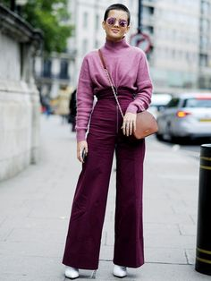 loving this blush sweater + wide leg pants for a chic warm valentines day outfit for young women looking to rock the latest trends // chic winter outfit idea for women in their 20s and 30s