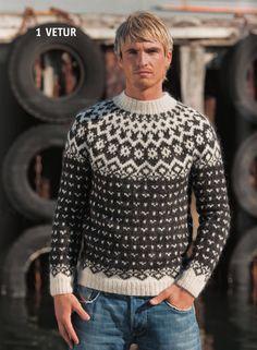 - Icelandic Vetur (Winter) Mens Wool Sweater Black - Tailor Made - Nordic Store Icelandic Wool Sweaters - 1 Knitting Kits, Knitting Designs, Knitting Patterns, Crochet Patterns, Vogue Knitting, Icelandic Sweaters, Wool Sweaters, Nordic Sweater, Men Sweater