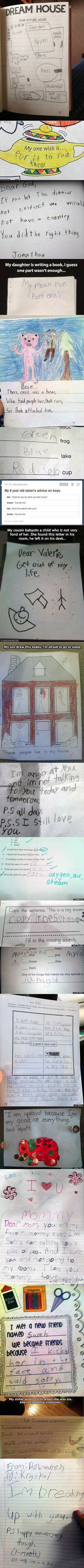 Here are some funny and geeky, yet real, things that kids have said, written.
