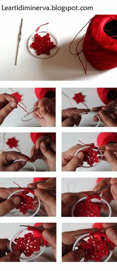 "Crochet Snowflake Pattern "" Crochet Snowflake Pattern Create a ring by cutting the rim off a plastic cup"", ""Written Crochet Snowflake Pattern, Crochet Stars, Crochet Snowflakes, Crochet Motif, Crochet Designs, Crochet Flowers, Knit Crochet, Crochet Patterns, Crochet Christmas Ornaments"