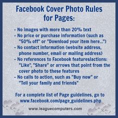 Facebook Cover Photo Rules for Pages (new rule for no more than 20% text on images as of Jan. 15th)