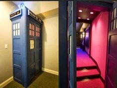 Doctor Who door idea! The Tardis door should lead to a movie room with every episode of Doctor Who on DVD. But the movie room should have surround sound and be able to tilt when the Tardis lurches tilts and falls Future House, My House, Hidden Rooms, Hidden Closet, Home Cinemas, Entertainment Room, Dr Who, Home Theater, Theater Rooms