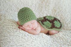 Knit Crochet Turtle Shell and Hat Set  Newborn by LovableLids, $28.00