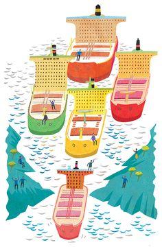 #paulboston #meiklejohn #illustration #digital #stylised #ship #travel #sea