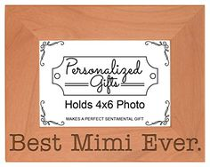 Birthday Gift for Grandma Best Mimi Ever Natural Wood Engraved 4x6 Landscape Picture Frame Wood * Details can be found by clicking on the image.