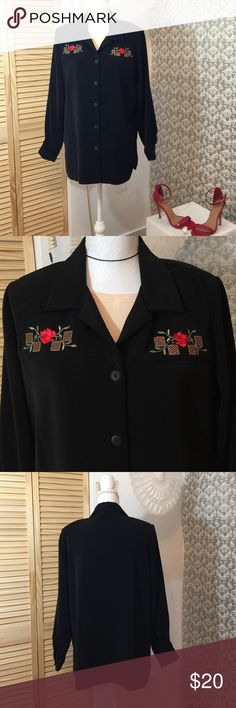 Black long sleeve red roses decorative  top Like new 28 inches in length sleeves 24 inches in length 16 inches in width five button closure in front Isbel Tops