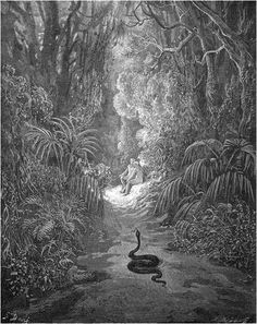 Satan, possessing the form of the serpent, quietly approaches the blissful Adam and Eve in the Garden of Eden.