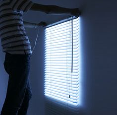 room with no window? this set of blinds illuminates as if there's sun shining thru your fake window hehehe
